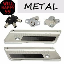 Chrome Saddlebag Metal Latch Covers Black Reflector Locks Set for Harley Touring