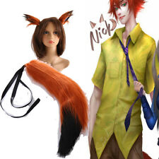 Hot High-quality Zootopia Fox Nick Wilde Cosplay Ears and Tail  Cos Accessories