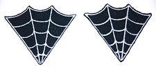 2 Black White Spider Web Collar Point Iron On Patch rockabilly punk - 54