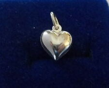 Sterling Silver 3D 12x10mm Small Hollow Puffy Heart Charm