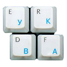 HQRP QWERTY Russian / Ukrainian Transparent Keyboard Stickers Blue Lettering