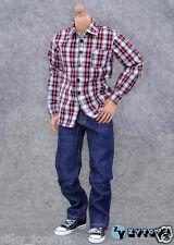 ZY Toys Men's Plaid Shirt Jeans Belt Suit Set A 1/6 Fit for 12inch Action Figure