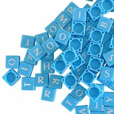 100 PLASTIC SCRABBLE TILES BLUE/WHITE LETTERS NUMBERS FOR CRAFTS UK SELLER