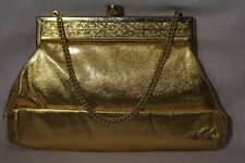 VINTAGE TYROLEAN N.Y.Gold Metallic&Plastic Purse/ClutchW/Gold Tone Frame Top B33