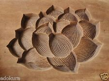 ANTIQUE JAPANESE KASHIGATA Wooden Hand Carved Cake Mold Lotus Flower with Cover