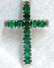 █$9500 18KT 4.66CT NATURAL EMERALD DIAMONDS CROSS PENDANT NECKLACE