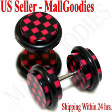 1266 Fake Cheater Illusion Faux Ear Plugs Red Checkered Print Parttern 0G 8mm