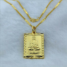 "Cool 24K Gold Plated Buddha Pendant Women Men Necklace 2MM 18"" jP117+BOX"
