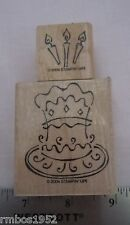 Stampin Up Something to Celebrate  Cake & Candles TWO Wood Mounted Stamps
