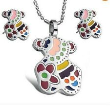 Women/Lady Set Colorful Cute Bear Pendant Necklace Stud Earring stainless steel