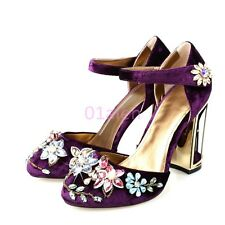 fashion shoes Womens Personalized Heel Velvet Ankle Strap Rhinestones Flower new