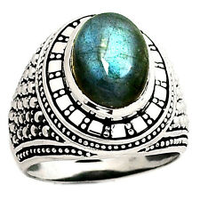 12g Peacock Blue Labradorite 925 Silver Men's Ring Jewelry s.10.5 SR216878