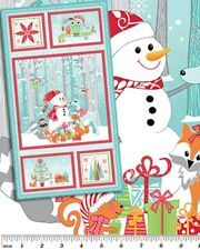 FROSTY FOREST SNOWMEN REINDEER CHRISTMAS FABRIC PANEL