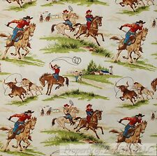 BonEful Fabric FQ Cotton Quilt VTG HORSE Scenic Western Cowboy Brown Green Grass
