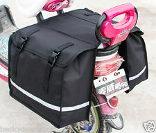 Black Bicycle Bike Rack Back Rear Seat Tail Carrier Double Pannier Bag
