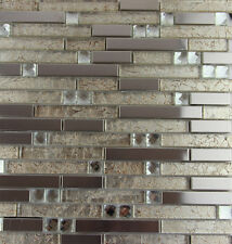 11PCS metal glass mosaic tile kitchen backsplash bathroom fireplace wall tiles