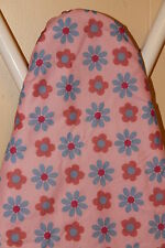 """PINK FLOWER DESIGN REPLACEMENT WIDE TOP IRONING BOARD COVER AND PAD 18"""" X 48"""""""