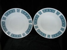 Pair of Vintage JAJ Pyrex Belmont Blue 10 inch Dinner Plates - blue grey white