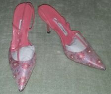 NEW W BOX MANOLO BLAHNIK Pink CORAL Floral Brocade Bow Slingback Shoes 6.5 36.5
