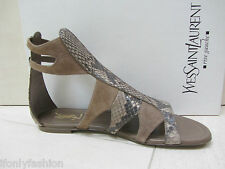 NIB YSL Yves Saint Laurent FLOWER  05 SNAKESKIN SUEDE Flats Sandals Shoes 37.5