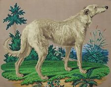 LARGE ANTIQUE HAND PAINTED BERLIN WOOLWORK EMBROIDERY PATTERN - LURCHER / DOG