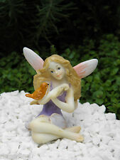 Miniature Figurine FAIRY GARDEN ~ Pink & Purple Fairy Figurine with Bird ~ NEW