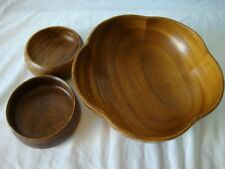 Teak Wood Bowl Set of 3 Large Flower Shape Bowl with 2 Small Bowls Vintage