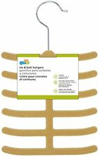 Honey-Can-Do HNG-01946 Ultra Thin Non-Slip Velvet Tie Hangers, single, Tan