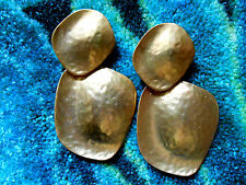 Kenneth Jay Lane Satin Gold Large Hammered Drop Clip Earrings