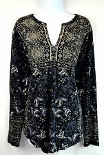 Lucky Brand Women XL Black Multi-color Floral Peasant Boho Top Blouse NEW NWT