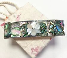 Hair clip Mexico Abalone Mother Of Pearl Floral Design Handmade Fair Trade Gift