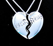 BFF Silver Tone BEST FRIEND 2 Pendant 2 Necklace Friendship E-4 New Item!