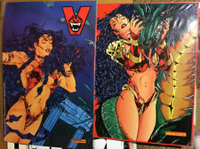 Vamperotica SIGNED Promo Posters Uncut Cards 1994 Sexy Vampire Dragon Kirk Lindo