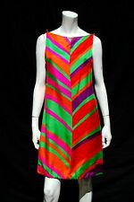 Vintage 60's MOD silk stripped Dress space age neon colors JOSEPH MAGNIN mint