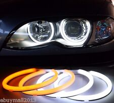4x Dual Color WH&YE Cotton LED Halo Rings For E36 E46 Porjector Demon Angel Eyes