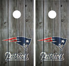 New England Patriots Vintage Wood Cornhole Board Decal Wrap Wraps (Grey)
