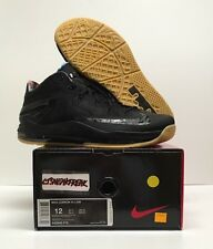 2014 Nike Air Max Lebron XI 11 Size 12 Low Black Gum Blackout Retro 642849-078