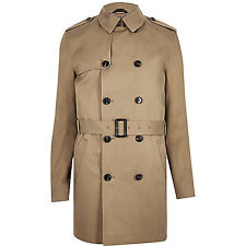 ASOS River Island Mens Brown Traditional Water Resistant Mac Trench Coat RRP£75