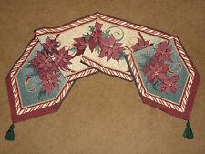 Christmas Flower Poinsettia Tapestry Table Runner
