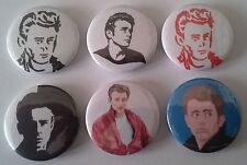 6 James Dean badges 25mm East of Eden Rebel without a cause Giant Hollywood