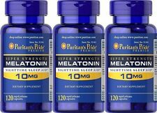 360 Capsules Puritan's Pride SUPER STRENGTH Melatonin 10 mg-Nighttime Sleep Aid