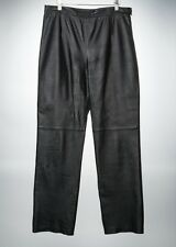 Women's CLIO Black Leather Pants Size 14 Fully Lined - Sexy!