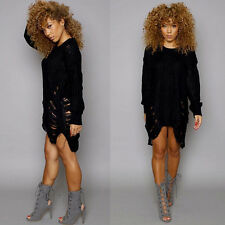 Womens Long Sleeve Oversized Ladies Knitted Destroyed Rip Jumper Dress UK 6-16