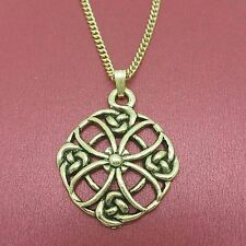 Celtic Necklace Circle knot charm pendant and chain gold plated
