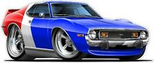 1971-72 AMC Javelin AMX 360 4V Cartoon Car Decal Wall Graphic Decor Man Cave NEW