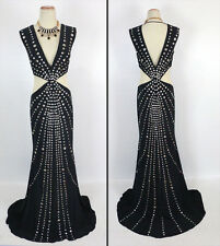 New Genuine Jovani 92491 Black Evening Gown Cruise Pageant Formal Size 10