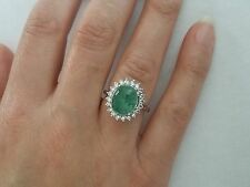 6.0 TCW Cabochon Emerald & Diamond 14K White Gold Cocktail Halo Dinner Ring