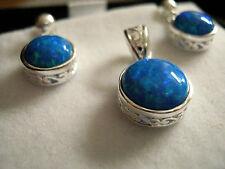 Sterling Silver Openwork Sea Blue Gilson Opal Round Pendant & drop earrings Set