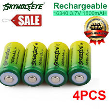 4PCS 1800mAh 3.7v Li-ion 16340 CR123A Rechargeable Batteries For Flashlight