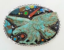 HUGE GENUINE CARVED EAGLE TURQUOISE CELESTIAL OPAL INLAY 925 SILVER  BELT BUCKLE